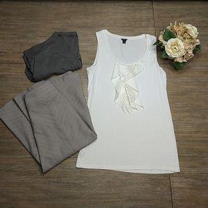 Ann Taylor Cream Beige Career Ruffle Shirt M